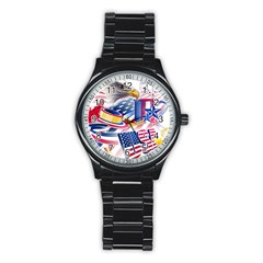 United States Of America Usa Images Independence Day Stainless Steel Round Watch