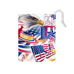 United States Of America Usa Images Independence Day Drawstring Pouches (Medium)