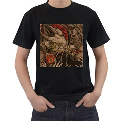 Chinese Dragon Men s T-Shirt (Black) (Two Sided)