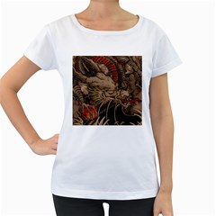 Chinese Dragon Women s Loose-Fit T-Shirt (White)