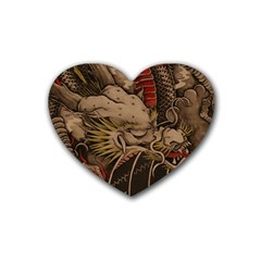 Chinese Dragon Rubber Coaster (Heart)