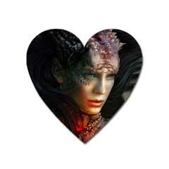 Digital Fantasy Girl Art Heart Magnet