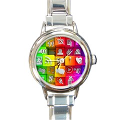 Colorful 3d Social Media Round Italian Charm Watch