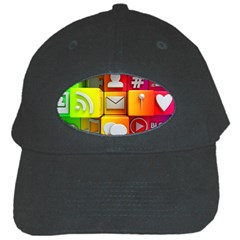Colorful 3d Social Media Black Cap