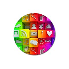 Colorful 3d Social Media Magnet 3  (Round)