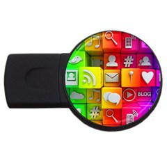 Colorful 3d Social Media USB Flash Drive Round (1 GB)