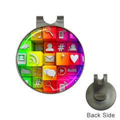 Colorful 3d Social Media Hat Clips with Golf Markers
