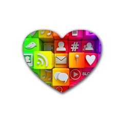 Colorful 3d Social Media Heart Coaster (4 pack)