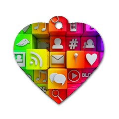 Colorful 3d Social Media Dog Tag Heart (Two Sides)