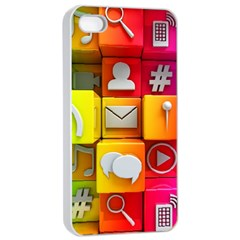 Colorful 3d Social Media Apple iPhone 4/4s Seamless Case (White)