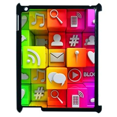 Colorful 3d Social Media Apple iPad 2 Case (Black)