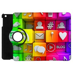 Colorful 3d Social Media Apple iPad Mini Flip 360 Case