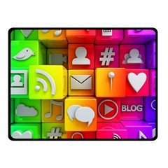 Colorful 3d Social Media Double Sided Fleece Blanket (Small)