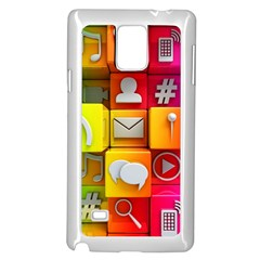 Colorful 3d Social Media Samsung Galaxy Note 4 Case (White)