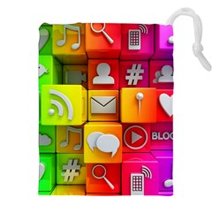 Colorful 3d Social Media Drawstring Pouches (XXL)