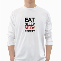 Eat sleep study repeat White Long Sleeve T-Shirts