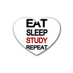 Eat sleep study repeat Rubber Coaster (Heart)