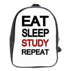 Eat sleep study repeat School Bags(Large)