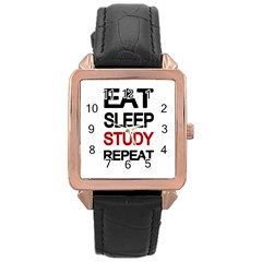 Eat sleep study repeat Rose Gold Leather Watch