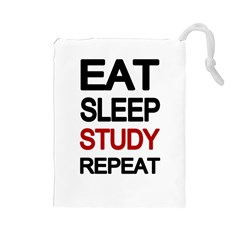 Eat sleep study repeat Drawstring Pouches (Large)