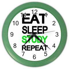 Eat sleep study repeat Color Wall Clocks
