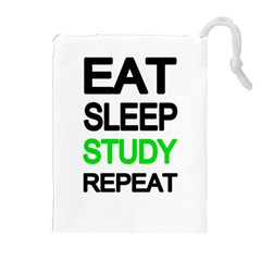 Eat sleep study repeat Drawstring Pouches (Extra Large)
