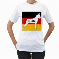 Boxer Name Silo On Flag White Women s T-Shirt (White) (Two Sided)