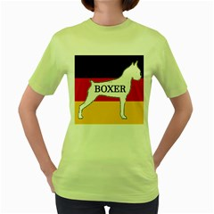Boxer Name Silo On Flag White Women s Green T-Shirt
