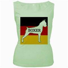 Boxer Name Silo On Flag White Women s Green Tank Top