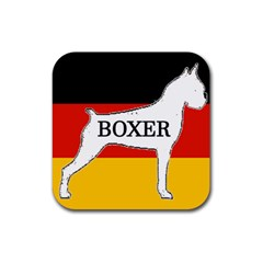 Boxer Name Silo On Flag White Rubber Square Coaster (4 pack)