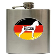 Boxer Name Silo On Flag White Hip Flask (6 oz)
