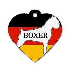 Boxer Name Silo On Flag White Dog Tag Heart (One Side)