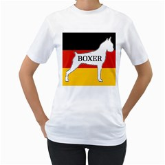 Boxer Name Silo On Flag White Women s T-Shirt (White)