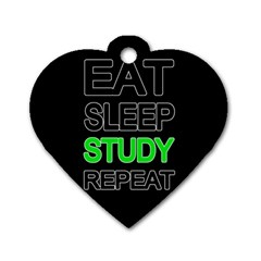 Eat sleep study repeat Dog Tag Heart (Two Sides)