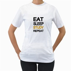 Eat sleep study repeat Women s T-Shirt (White) (Two Sided)