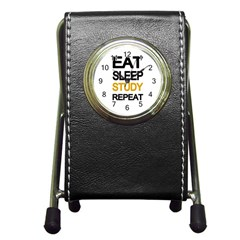 Eat sleep study repeat Pen Holder Desk Clocks