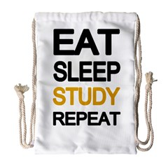 Eat sleep study repeat Drawstring Bag (Large)