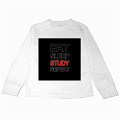 Eat sleep study repeat Kids Long Sleeve T-Shirts