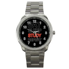 Eat sleep study repeat Sport Metal Watch
