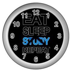 Eat sleep study repeat Wall Clocks (Silver)