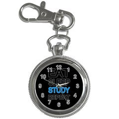 Eat sleep study repeat Key Chain Watches