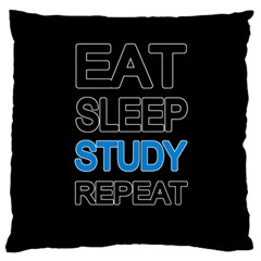 Eat sleep study repeat Large Flano Cushion Case (Two Sides)