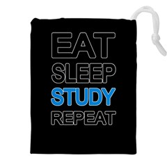 Eat sleep study repeat Drawstring Pouches (XXL)