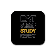 Eat sleep study repeat Rubber Coaster (Square)