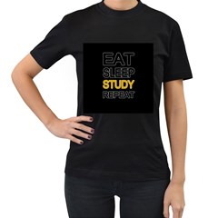 Eat sleep study repeat Women s T-Shirt (Black) (Two Sided)