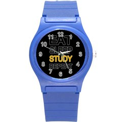 Eat sleep study repeat Round Plastic Sport Watch (S)