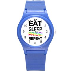 Eat sleep pride repeat Round Plastic Sport Watch (S)