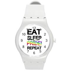 Eat sleep pride repeat Round Plastic Sport Watch (M)