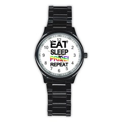 Eat sleep pride repeat Stainless Steel Round Watch