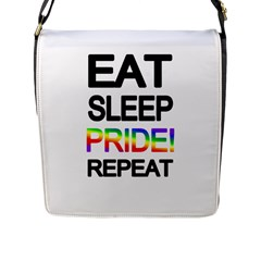 Eat sleep pride repeat Flap Messenger Bag (L)
